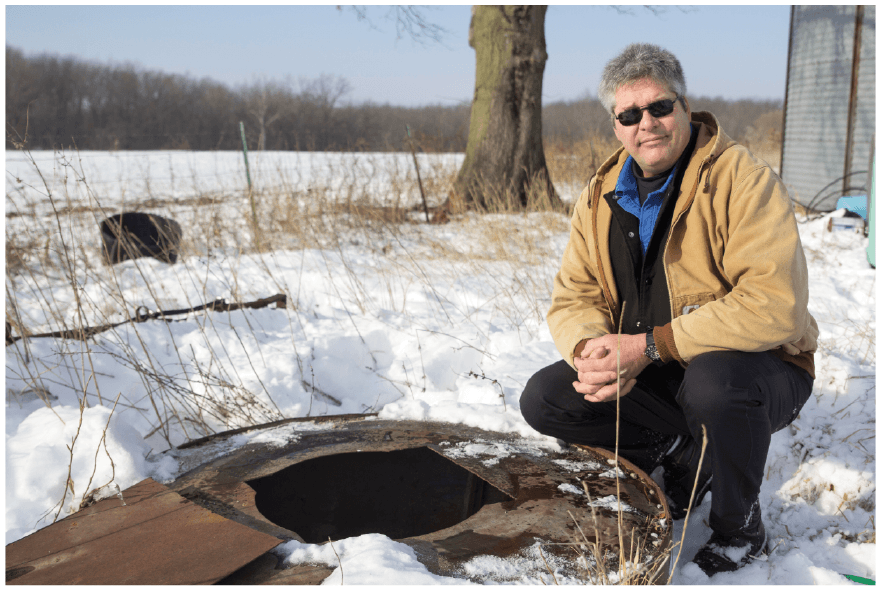 Tom Martin revisits the well housing where he nearly perished. If not for the help of local volunteer firefighters and paramedics, he wouldn't have made it home.