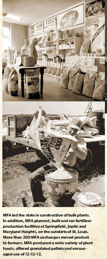 MFA led the state in construction of bulk plants. In addition, MFA planned, built and ran fertilizer production facilities at Springfield, Joplin and Maryland Heights, on the outskirts of St. Louis. More than 300 MFA exchanges moved product to farmers. MFA produced a wide variety of plant foods, offered granulated pellets and encouraged use of 12-12-12.